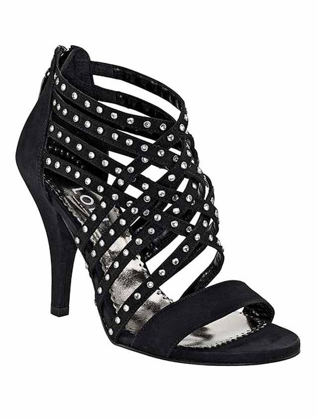 Večerní sandále s kamínky černé