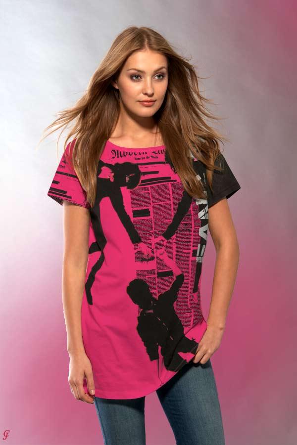 c1d17699cf00 Dámské stylové tričko růžové s potiskem