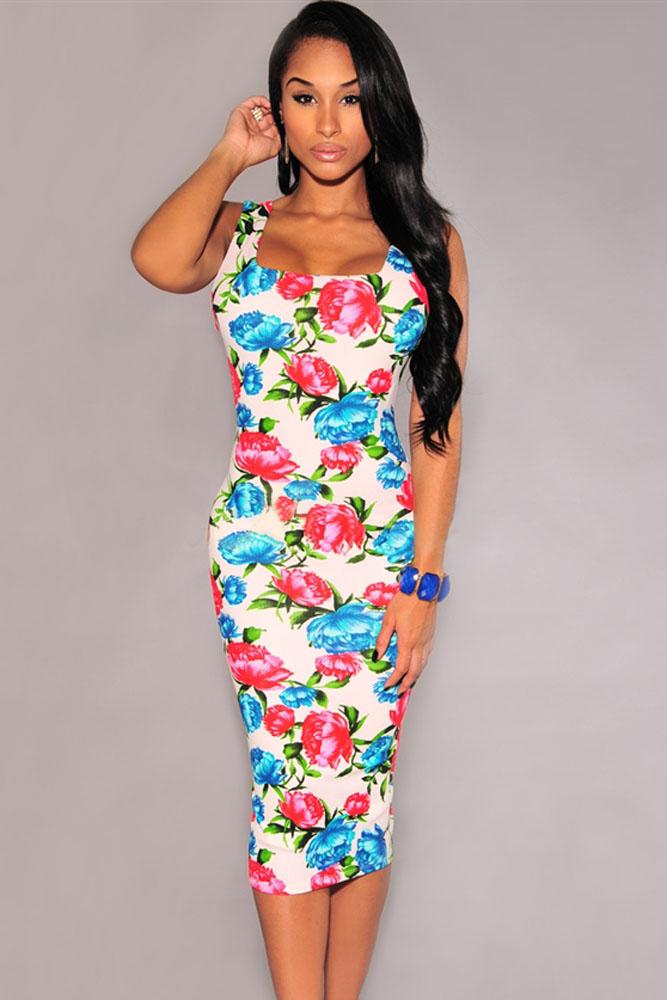 001 Světlé letní květované šaty