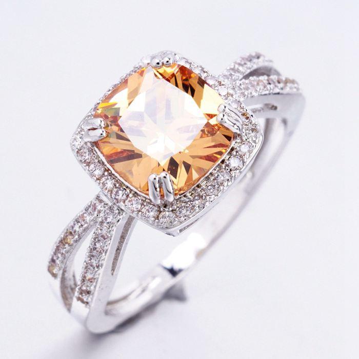 003 Luxusní prsten - kubický zirkon - oranž.