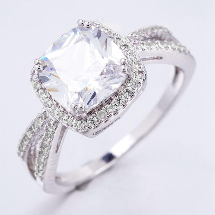003 Luxusní prsten - kubický zirkon - bílý