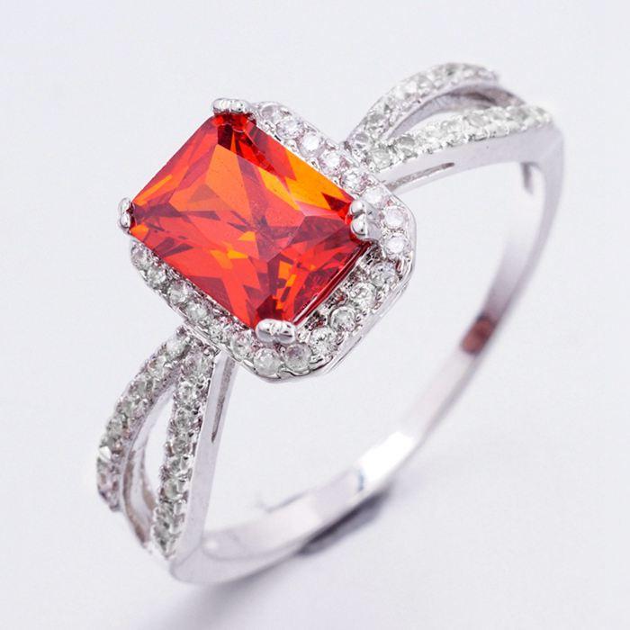 003 Luxusní prsten - kubický zirkon - červený