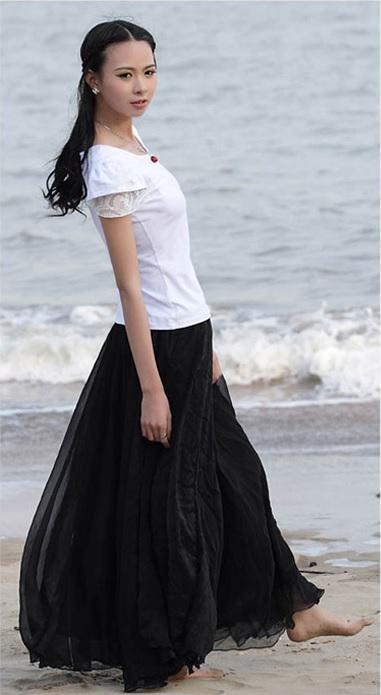 d82d4de17441 002 Dlouhá letní šifónová sukně černá