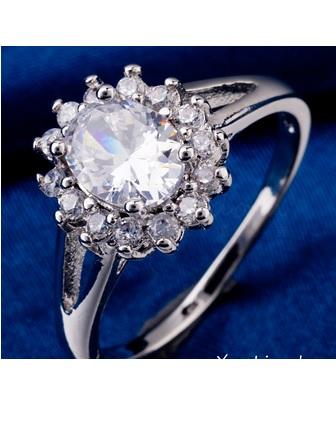 003 Luxusní prsten s bílým zirkonem kytka| Katyshop