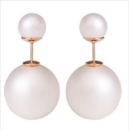 003 Naušnice oboustranné perly - bílé
