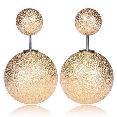 003 Naušnice oboustranné perly - zlacené