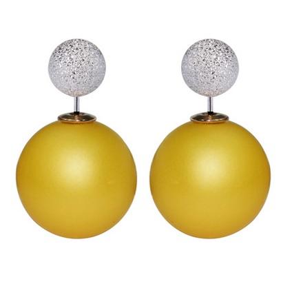 003 Naušnice oboustranné perly - žluté