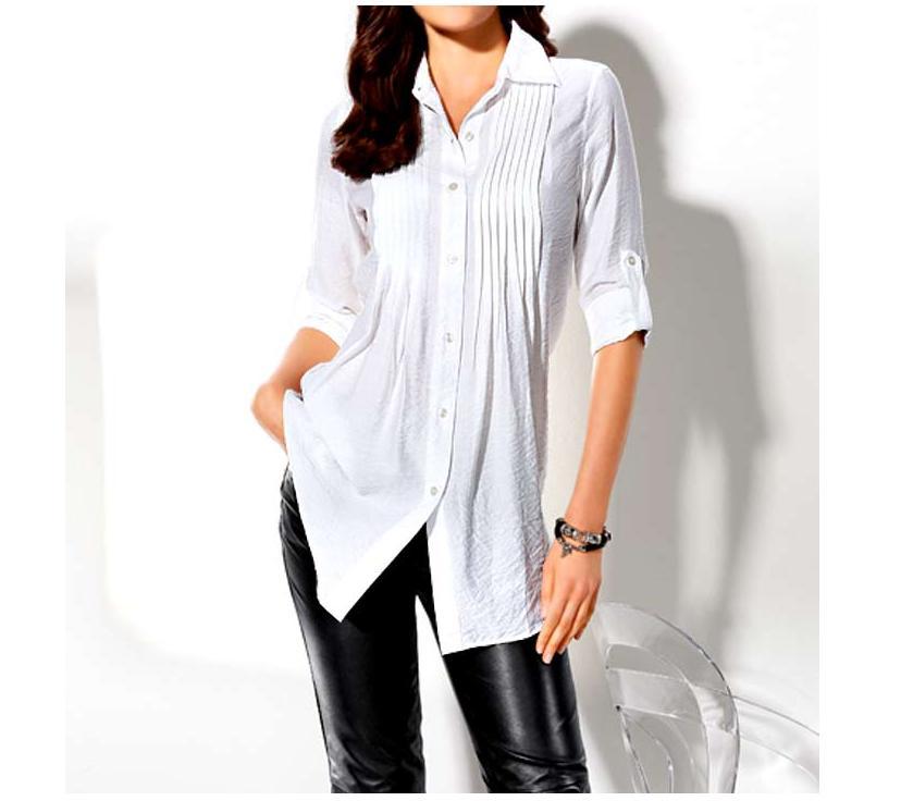 b158d64ecda Prošívaná delší halenka - košile bílá