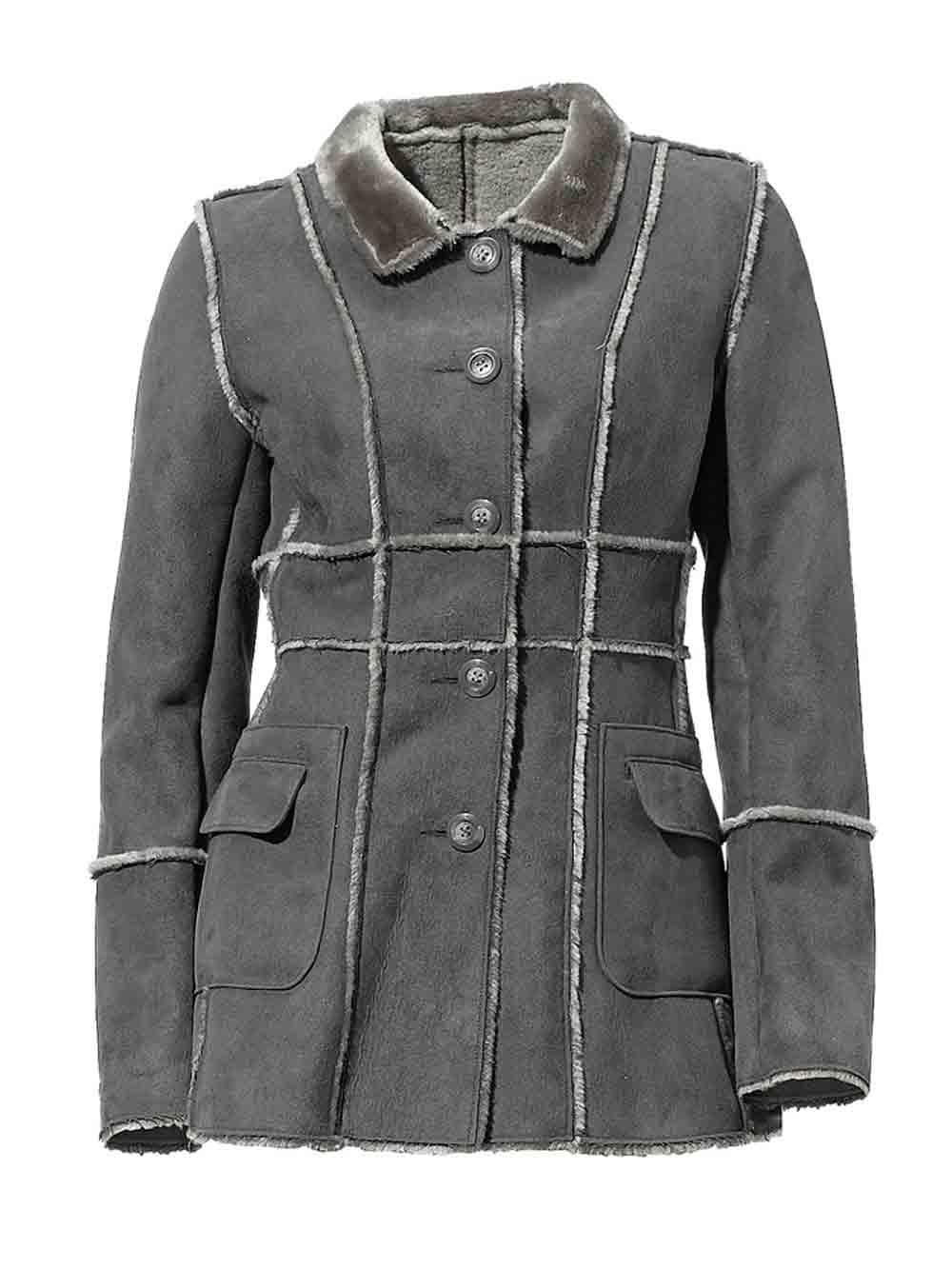 Dámská bunda z umělé kožešiny šedá (Heine)