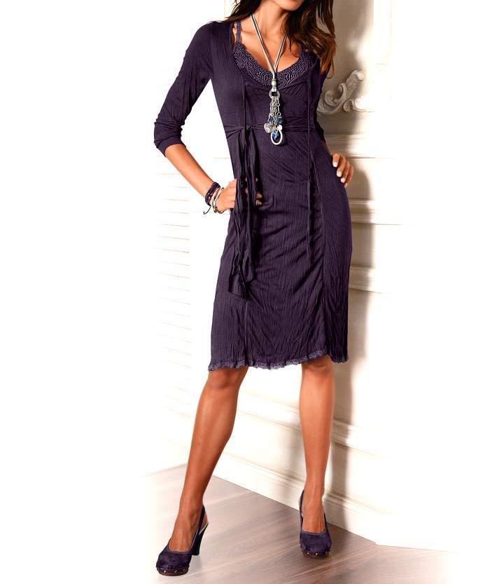 Designerské dvoudílné šaty 2v1 fialové