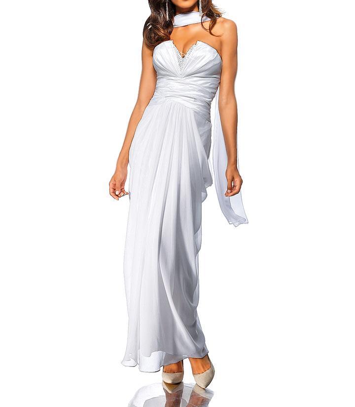 Večerní společenské šaty s šátkem, bílé (Heine)