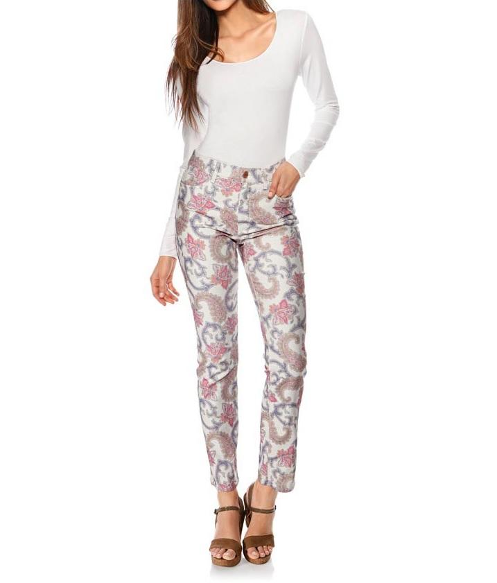 Dámské strečové džíny ecru multicolor