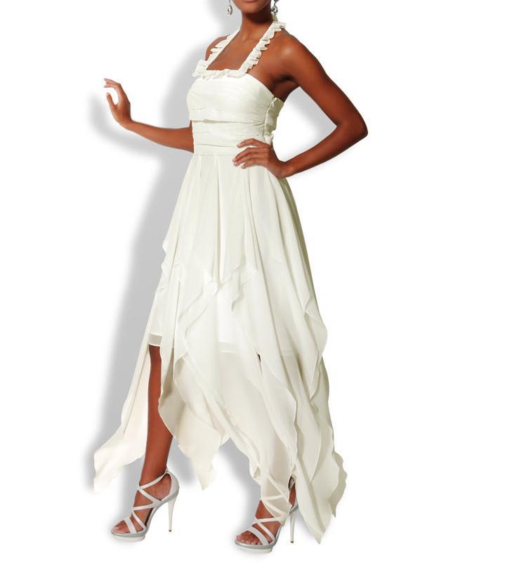 Dámské společenské večerní šaty šifónové krémové (Heine)
