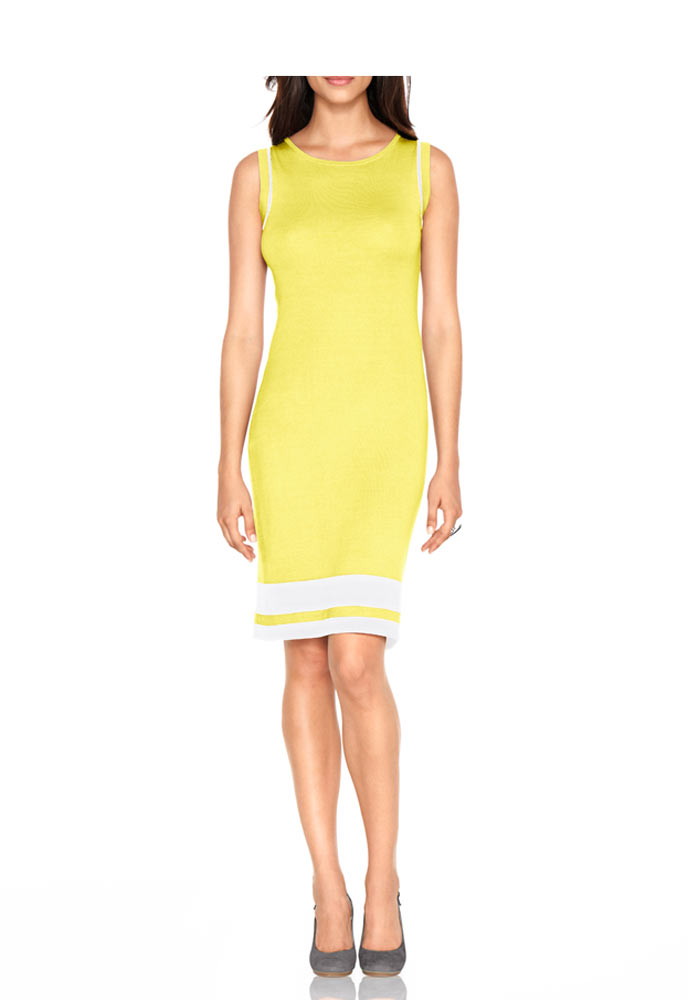 Pletené šaty žluto bílé (Heine)