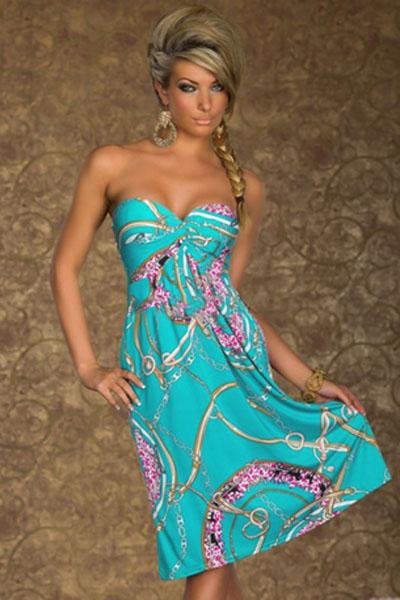 001 Tyrkysové letní šaty UNI vel.