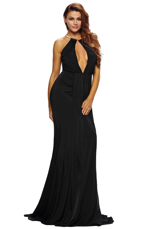 001 Společenské dlouhé černé šaty s hlubokým výstřihem