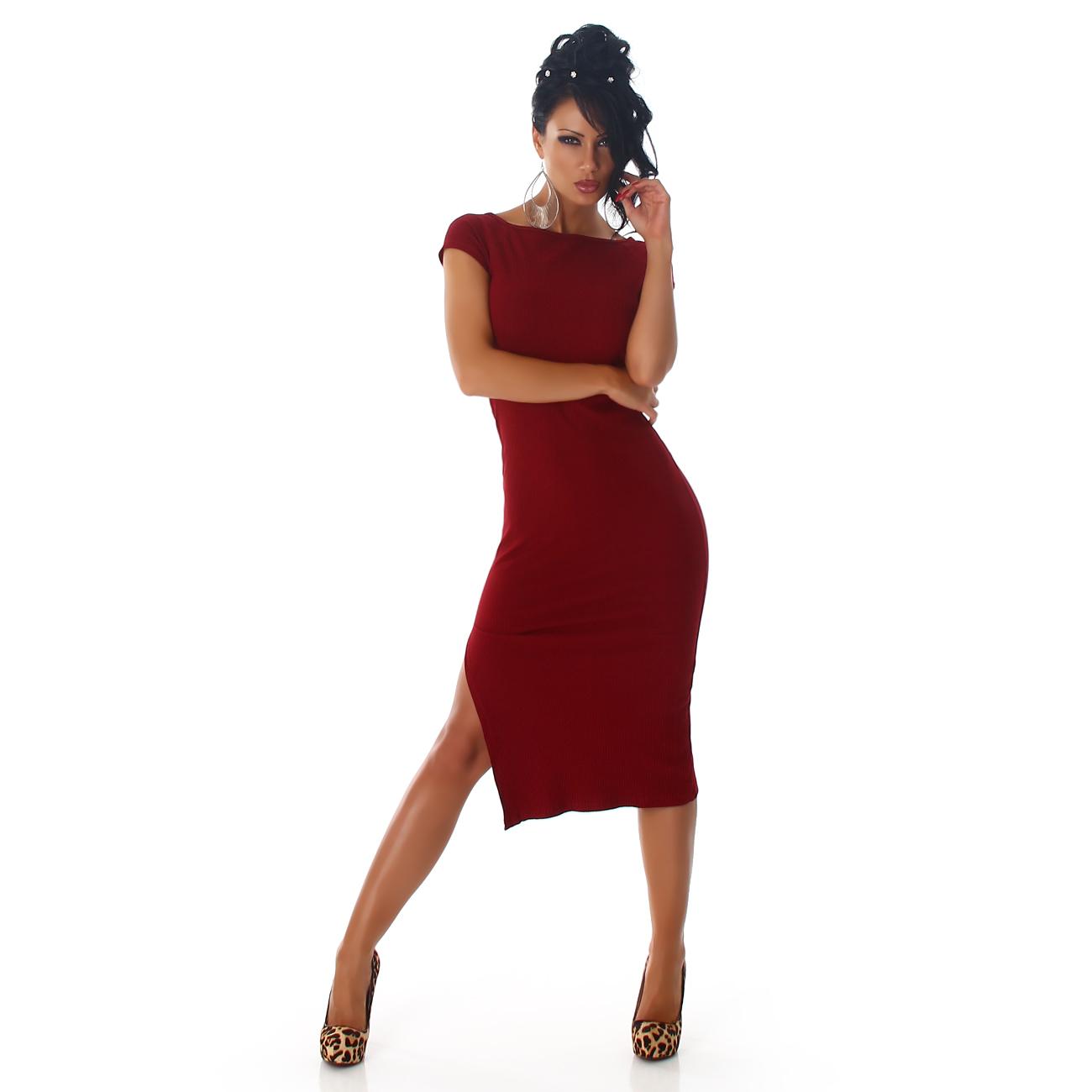 000 Dámské šaty úpletové červené