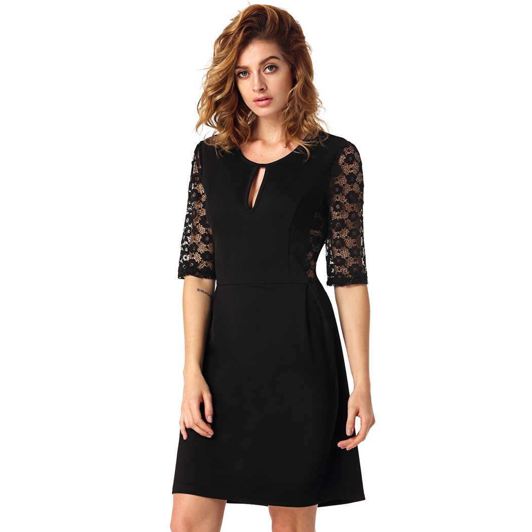 001 Společenské černé šaty s krajkovými rukávy  c8fa272b65