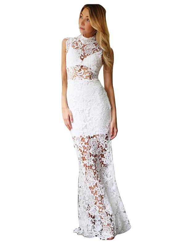 001 Dámské krajkové šaty bílé dlouhé