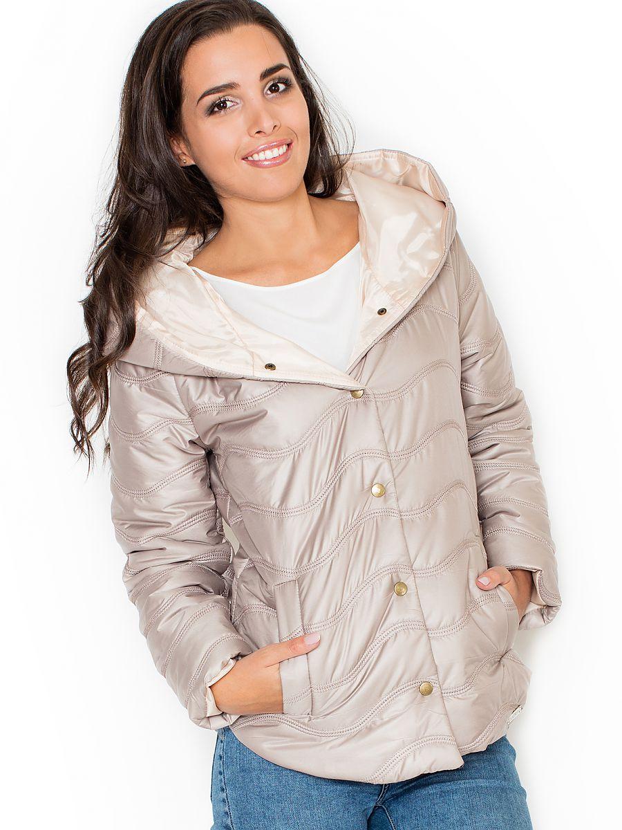 Dámská zimní bunda s kapucí šedá (Katrus)