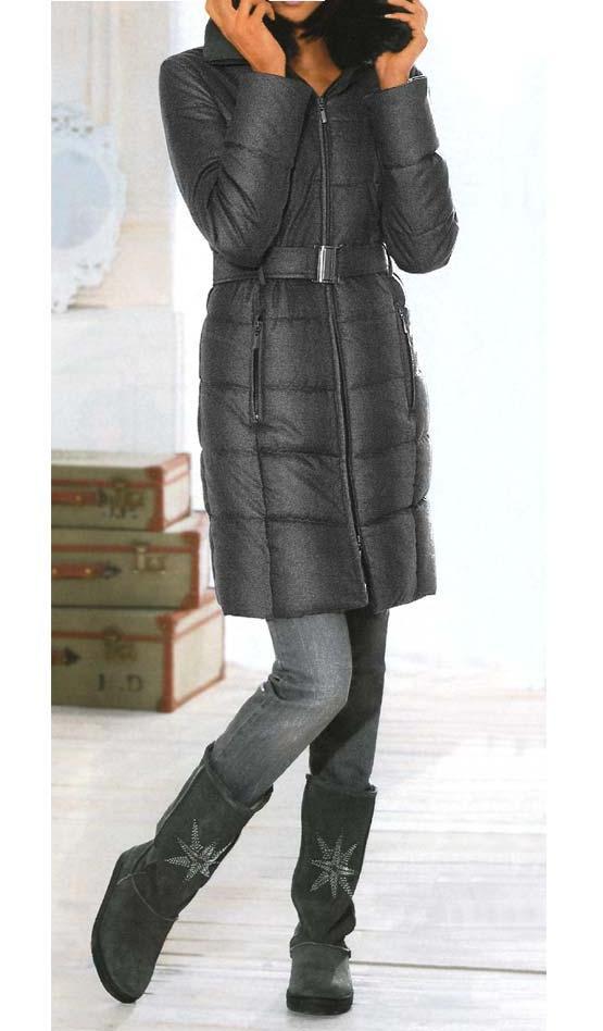 Dámská bunda kabát zimní antracit (Linea Tesini)