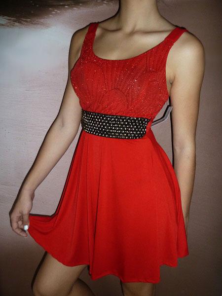 00* Dívčí společenské šaty- koktejlky červené