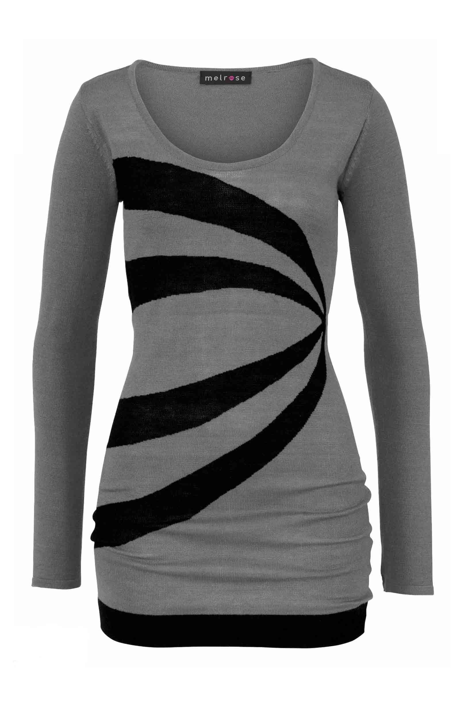 Dámské šaty pletené trendy šedočerné a8ec62b605