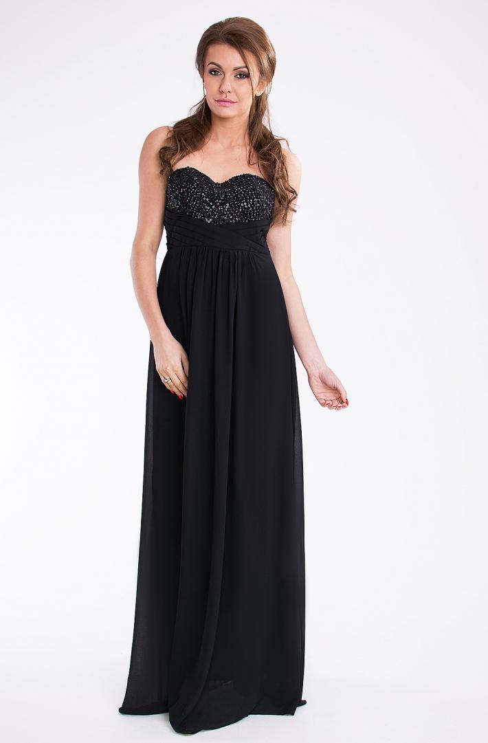 Dámské společenské šaty večerní dlouhé černé (PINK BOOM)