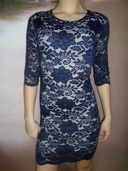 00* Dámské celokrajkové šaty modré