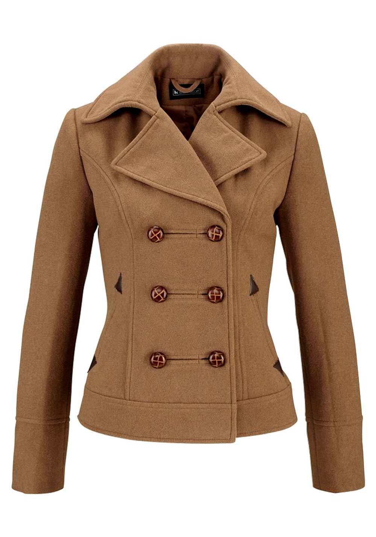 Vlněný kabátek camel (Laura Scott)