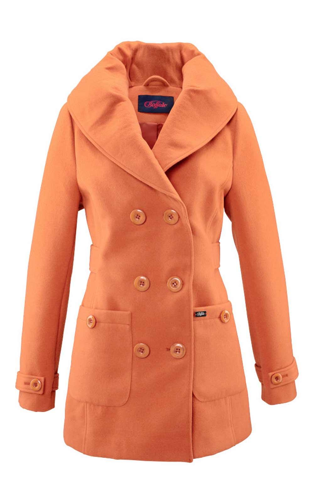 b3b1bd7f7b Dámský kabát značkový BUFFALO orange