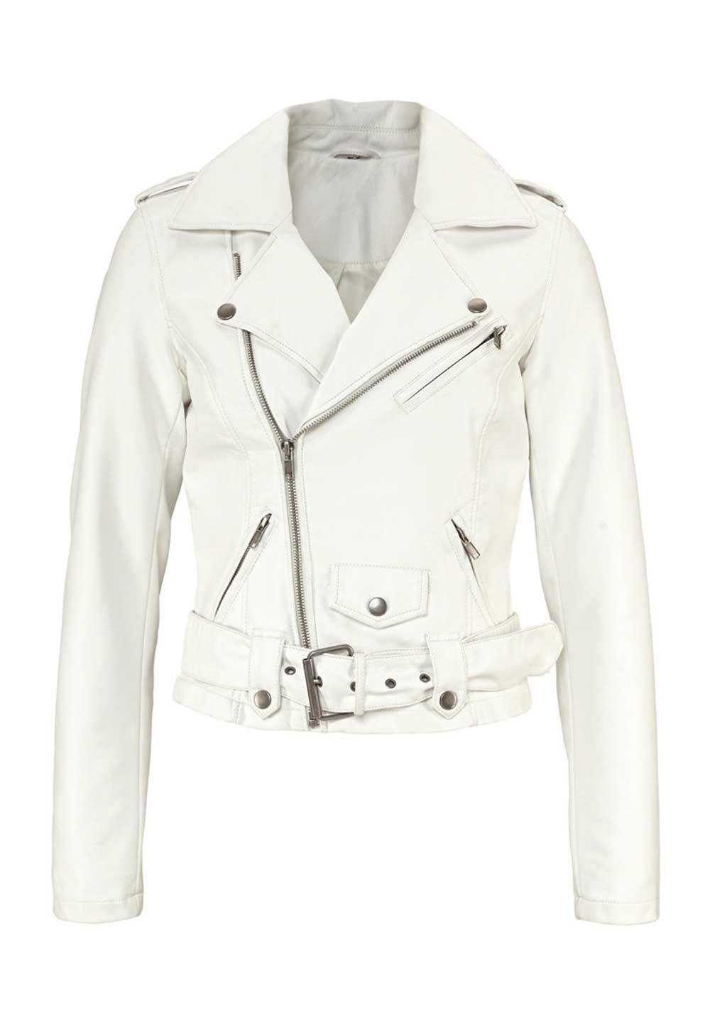 Dámská bílá bunda v motorkářském stylu (Laura Scott)