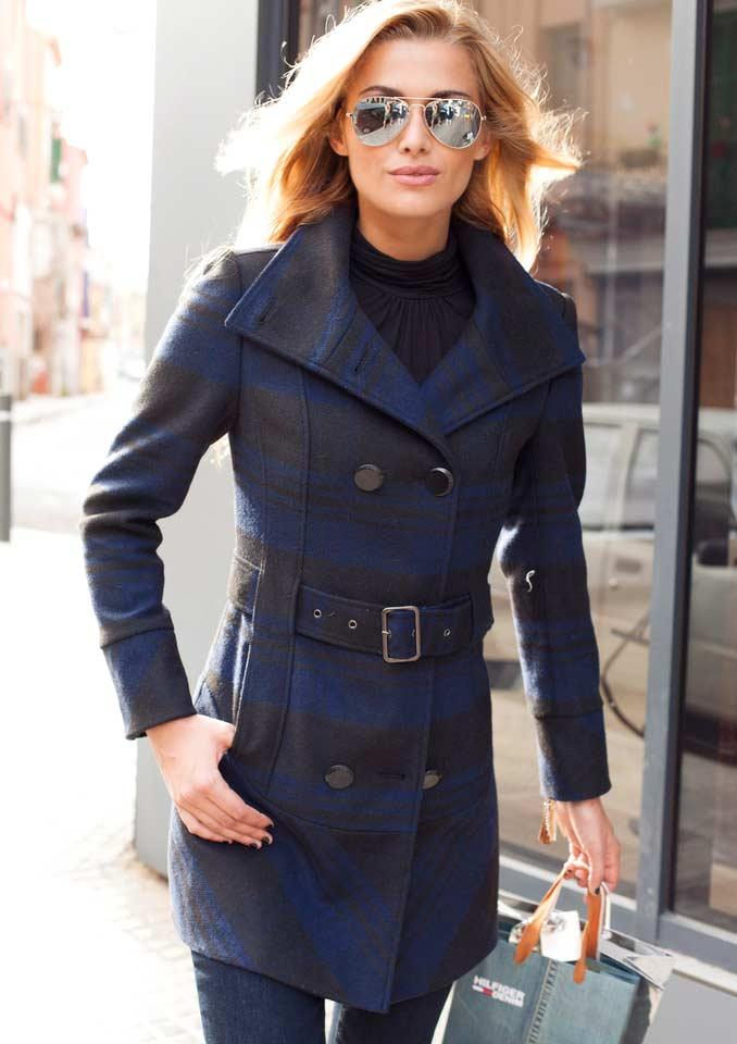 Dámský kabát vlněný modročerný (Aniston)