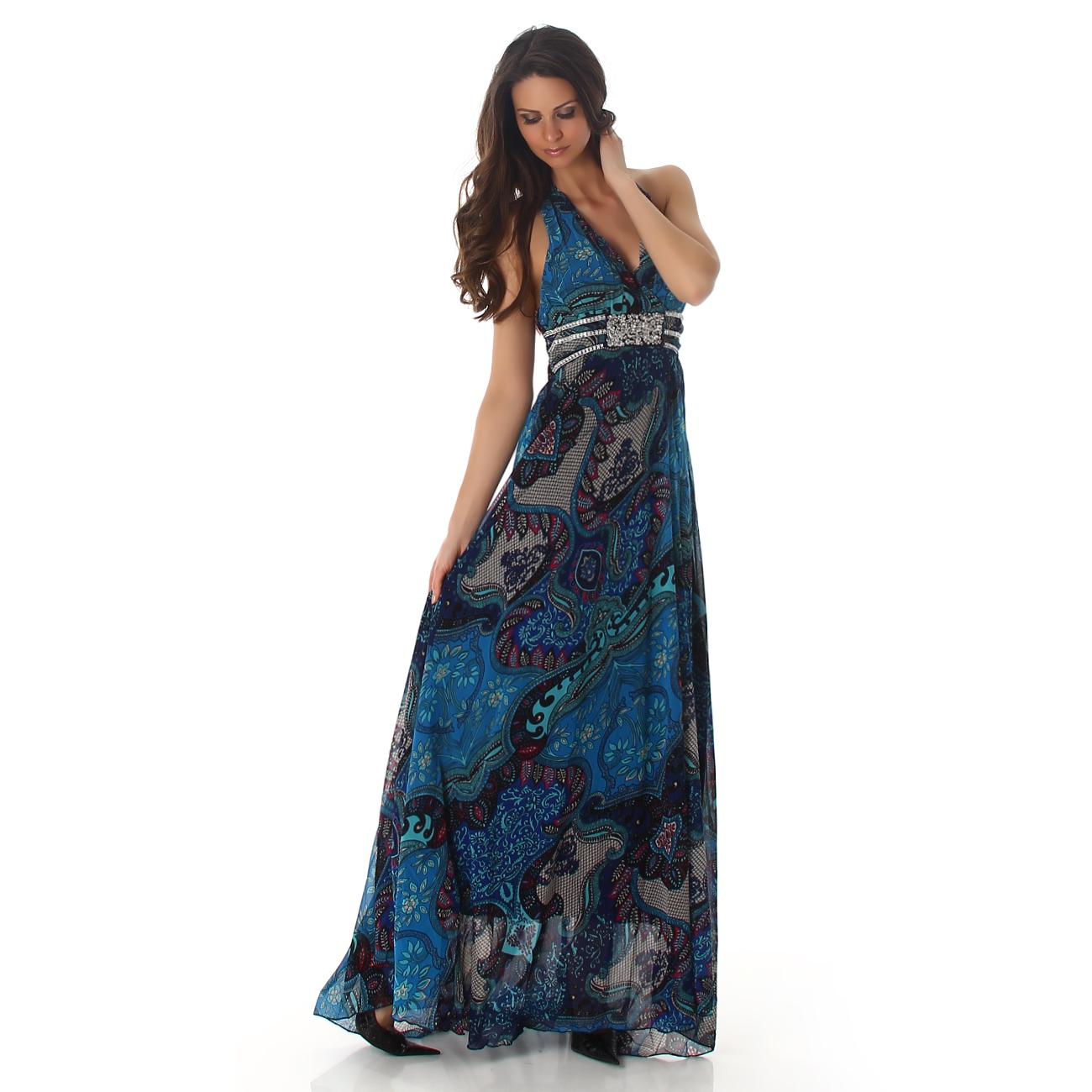 000 Dámské letní/společenské šaty maxi modré