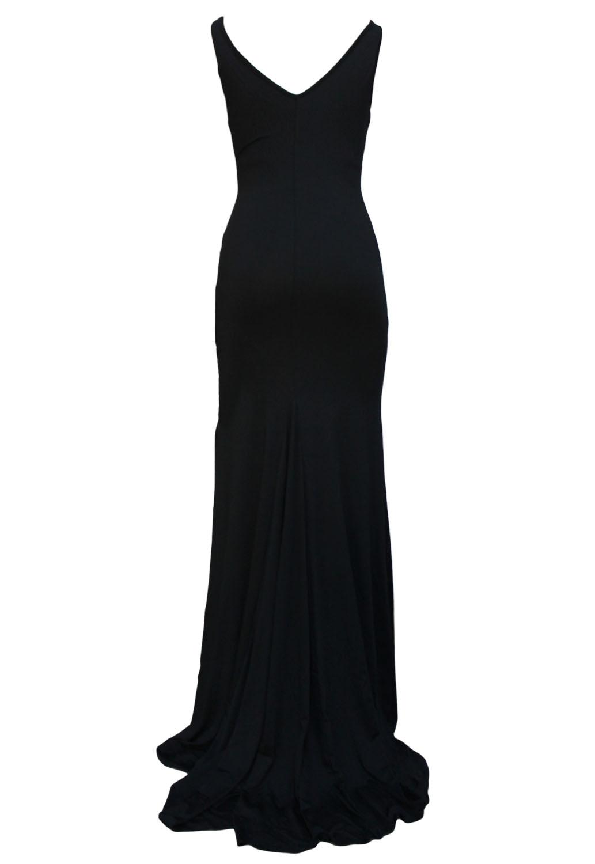 001 Dámské šaty dlouhé černé s vlečkou