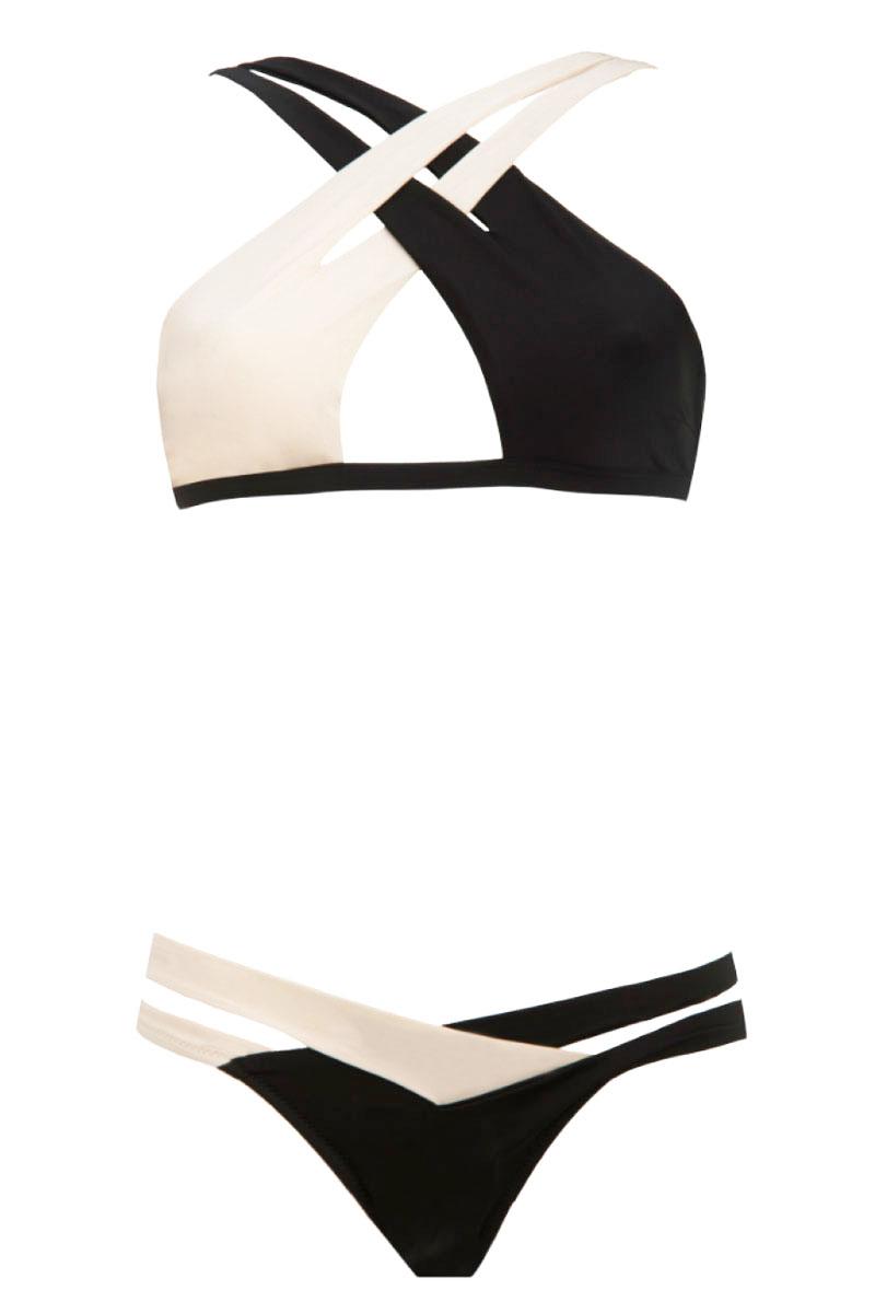 Dámské plavky push-up bíločerné