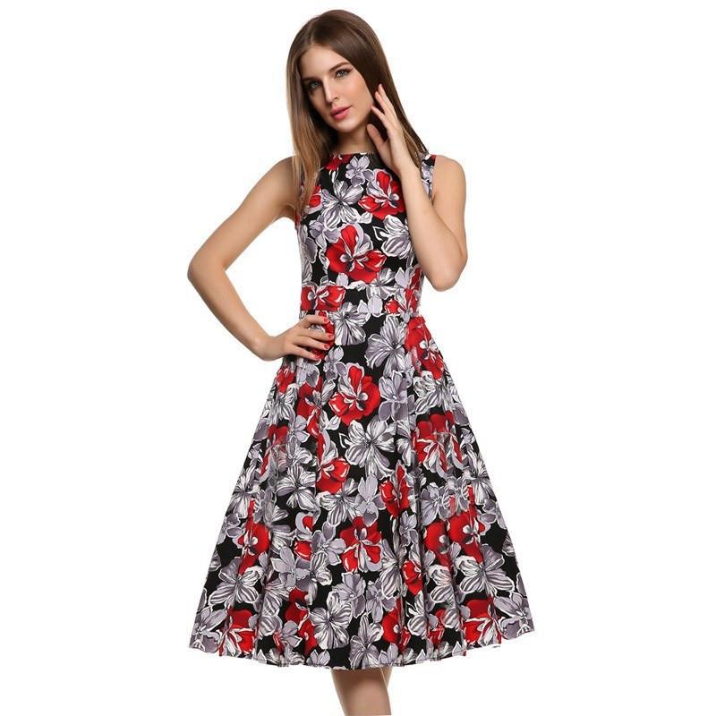 002 Dámské retro šaty RED