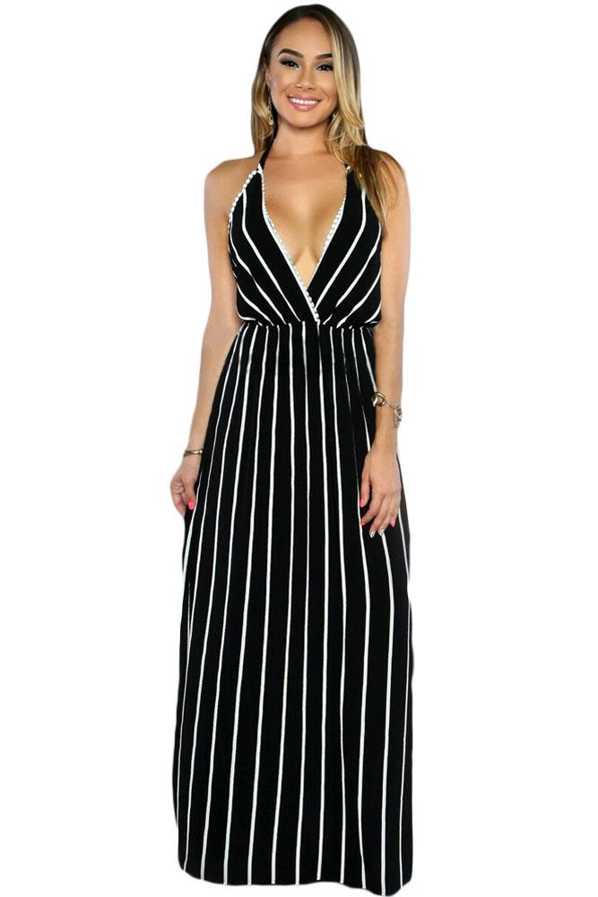 Dámské letní šaty maxi pruhované černé