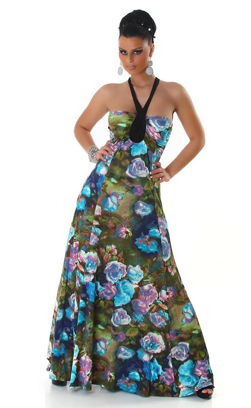 000* Dámské šaty letní maxi s tyrkysovými květy