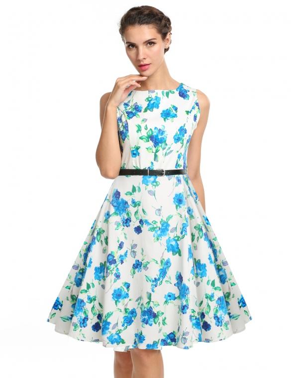 65579d056cf0 002 Dámské retro šaty bílé BLUE FLOWERS