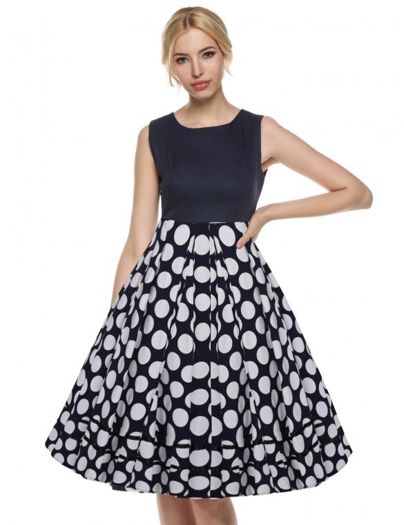 002 Dámské VINTAGE šaty černobílé puntíky