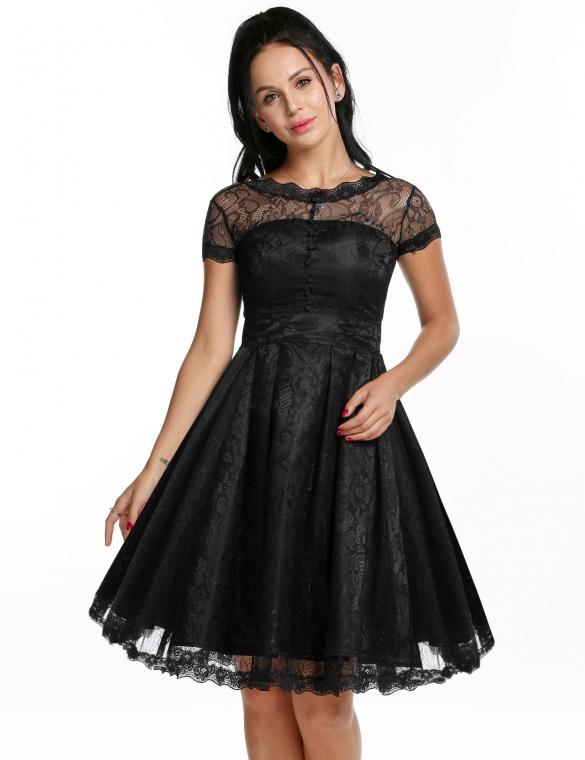 002 Dámské VINTAGE šaty černé krajkové