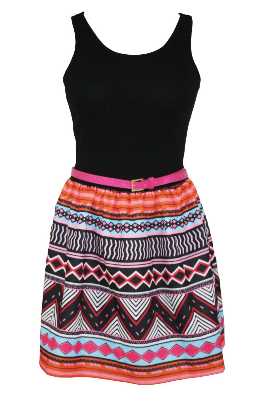 002 Dámské šaty letní vzorované - ETNO
