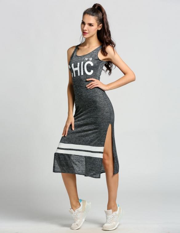 002 Dámské letní šaty sportovní ležérní šedé