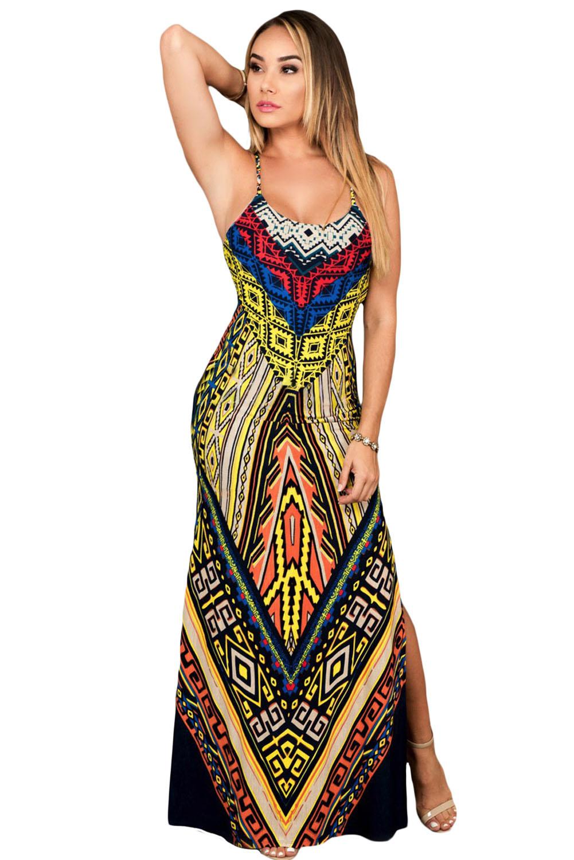 001 Dámské šaty maxi etnic