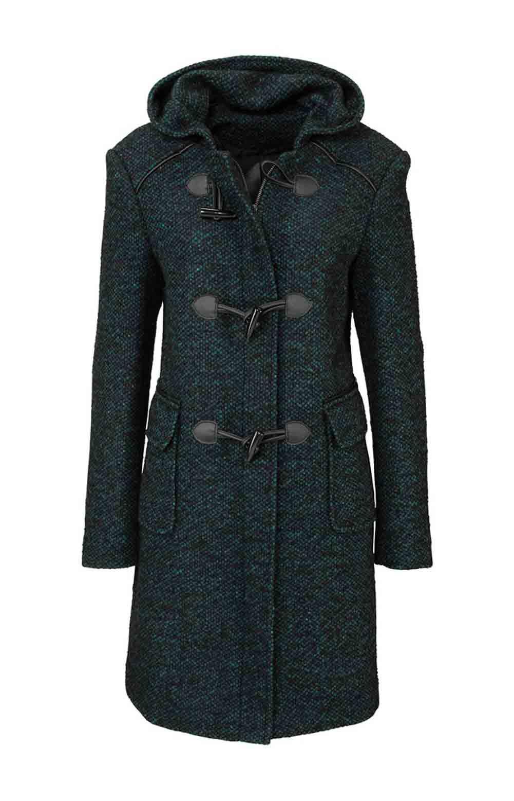 Dámský vlněný kabát černopetrolejový (BOYSENS)