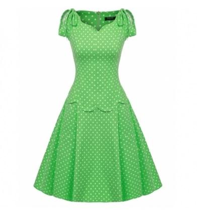 002 Dámské RETRO šaty zelené s puntíky