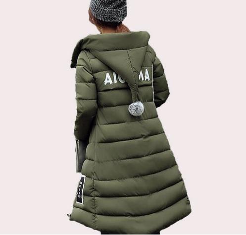 Dámská bunda/kabát zimní khaki (Velikost 3XL)