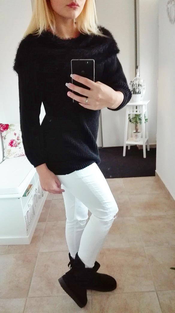 00*Dámský svetr s kožešinou černý