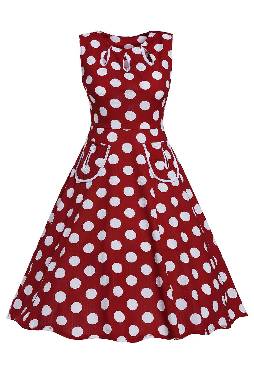 002 Dámské RETRO šaty červené s puntíky